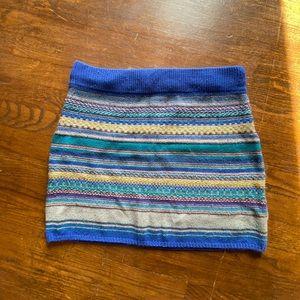 Multi color horizontal striped mini skirt